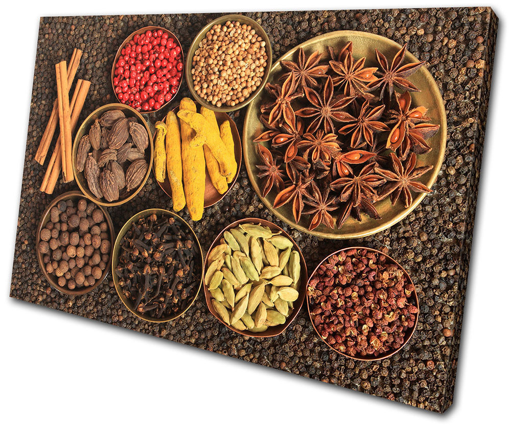 Food Kitchen Indian Spices SINGLE TOILE murale ART Photo Print