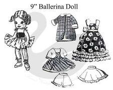 Reproducción Vintage 9 Pulgadas Muñeca Bailarina & Ropa patrón de costura