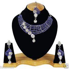 Silver Plated Handmade Party Wear Kundan Zerconic Necklace Set Jewelry Earrings