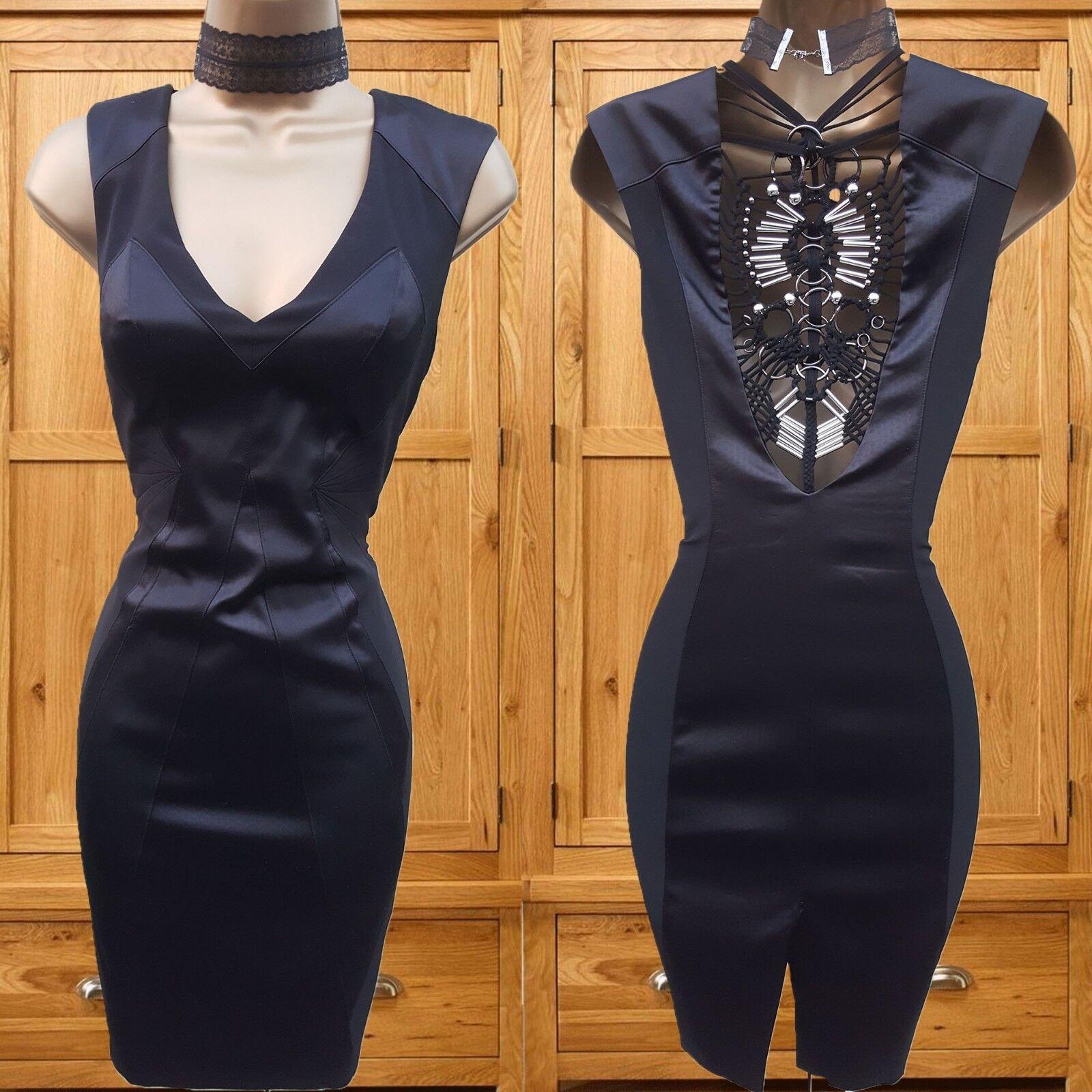 Größe 8 UK KAREN MILLEN schwarz Satin Macrame Art Deco Mini Dress Christmas Party