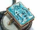 RARE Antique c1880 Egyptian Solid 18ct Gold Faience Set Hieroglyphs Swivel Ring