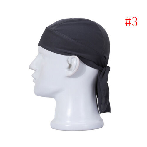 Men Solid Lined Skull Cap Bike Motorcycle Bandana Head Wrap Cotton Blend Fashion