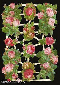 German Victorian Style Embossed Scrap Die Cut - Red & Pink Roses / Flower EF7328