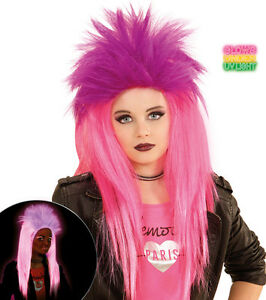 Fetzige Punk Perucke Neon Pink Fur Kinder Neu Karneval Fasching