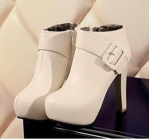 Womens-Ankle-Boots-Buckle-Block-High-Heels-Elegant-Shoes-Zip-Winter-Warm-Boots