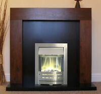Led Electric Mango Walnut Surround Silver Black Fire Fireplace Suite Spotlights