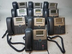 Lot-of-10-Cisco-SPA504G-4-Line-VoIP-IP-Phone-PoE-w-Handsets-and-Stands-Reset