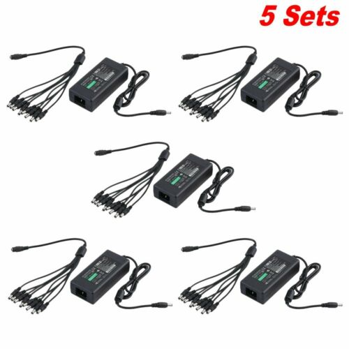 LOT 10X 12V 5A Power Supply Adapter 8 Split Power Cable CCTV Security Camera HX