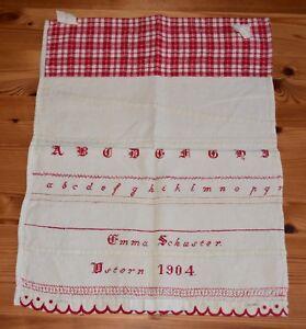 Antikes-Stickmustertuch-ABC-Tuch-handarbeit-Altes-Tuch-Handbestickt-1905
