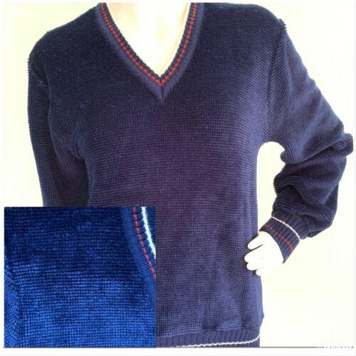 Vintage 70's Textured Velour V-Neck Pullover Sweat