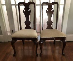 Details About Set Pair Ethan Allen Queen Anne Dining Side Chairs