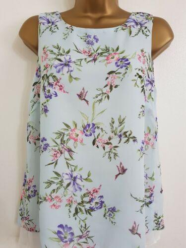 Ex Wallis 8-20 Bird /& Floral Print Blue White Chiffon Top Blouse Tunic