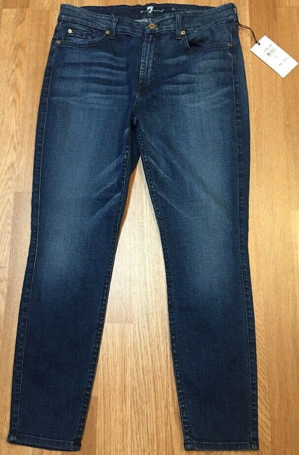 Neuf Avec Étiquettes 7 SEVEN FOR ALL MANKIND Mi Rise Cropped Skinny Stretch Denim Jeans 32