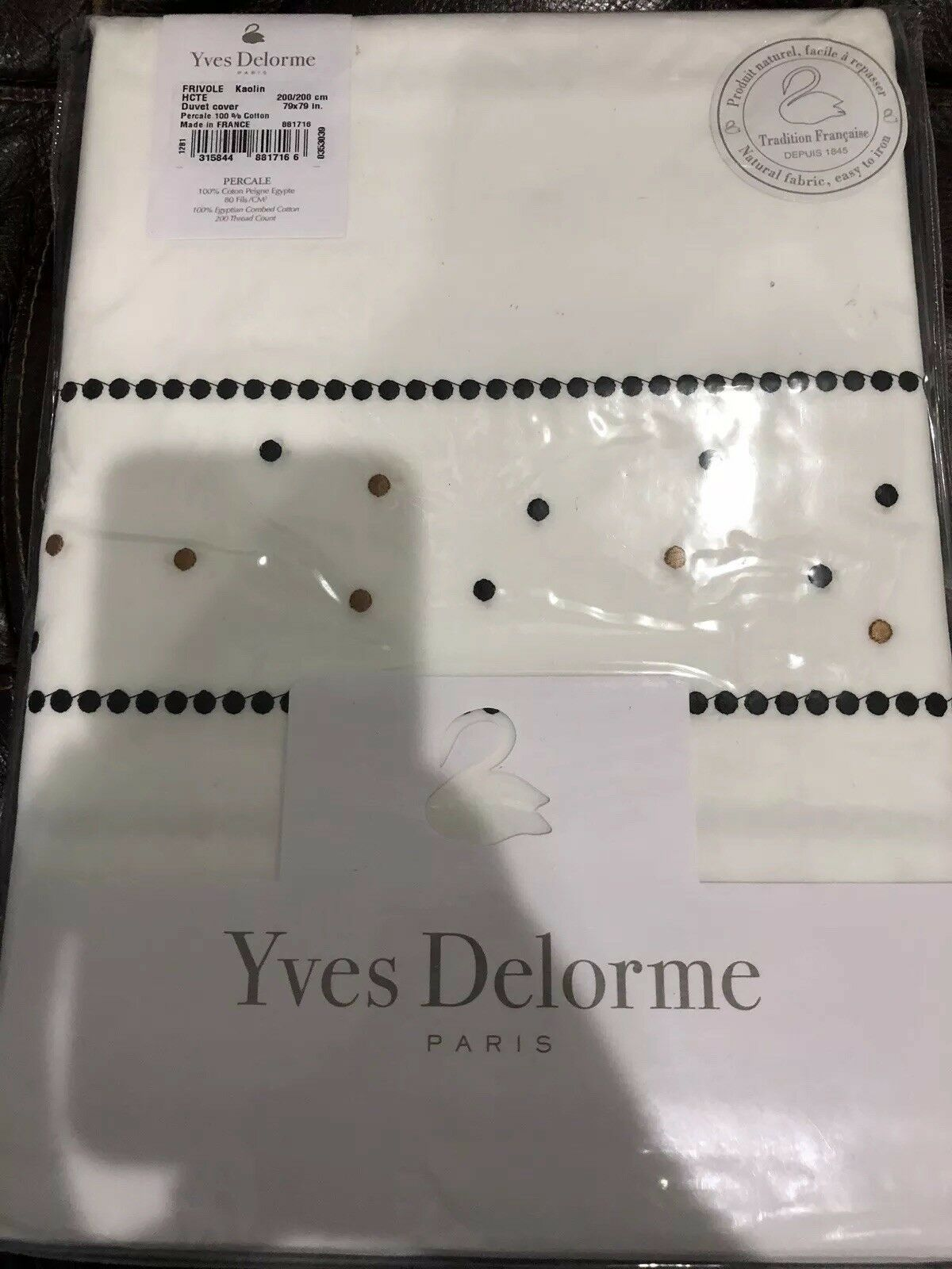 Yves Delorme France NWT (1) Full Duvet Cover Frivole 100% Cotton Embroidery
