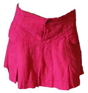 vendita calda online 41b39 ec108 Dettagli su Gonna Corta Minigonna Pieghe Tasche 100% Lino Originale Donna  DEKHER Rossa 40 41