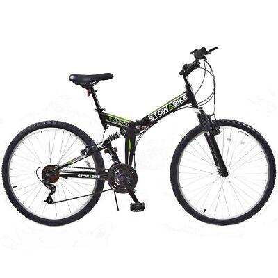 "Stowabike 26"" MTB V2 Folding Dual Suspension 18 Speed Shimano Gear Mountain Bike"