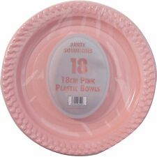 """18 x PINK PLASTIC PLATES 18cm 7"""" BIRTHDAY PARTY SUPPLIES TABLEWARE DISPOSABLES"""