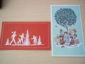 image is loading 2 vintage red farm studio beautiful christmas cards - Mint Christmas Cards