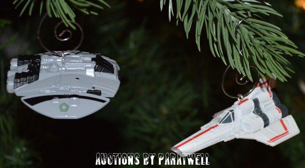 Battlestar Galactica Colonial Viper + Cylon Raider (2) Adornos Nave Espacial Set