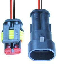 5x Kfz-Stecker 2-polig Steckverbinder Anschluss-Set mit Kabel wasserdicht AMP SS