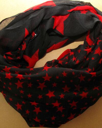 Loop Schal Rundschal Sterne Stars Schlauchschal blau schwarz rot rosa !!Neu!!
