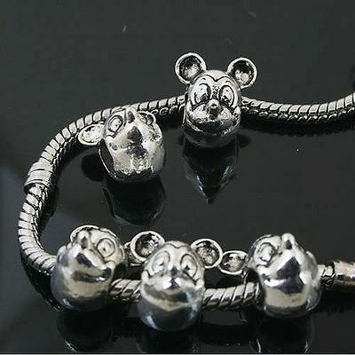 12pcs Tibetan Silver Mickey Mouse Beads Fit European charm  Bracelet  L0136