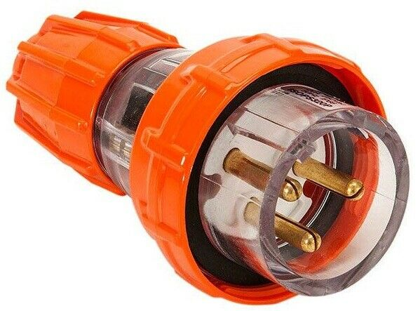 Iso STRAIGHT PLUG 250V AC 3-Round Pin, Electric orange- 20A Or 32A