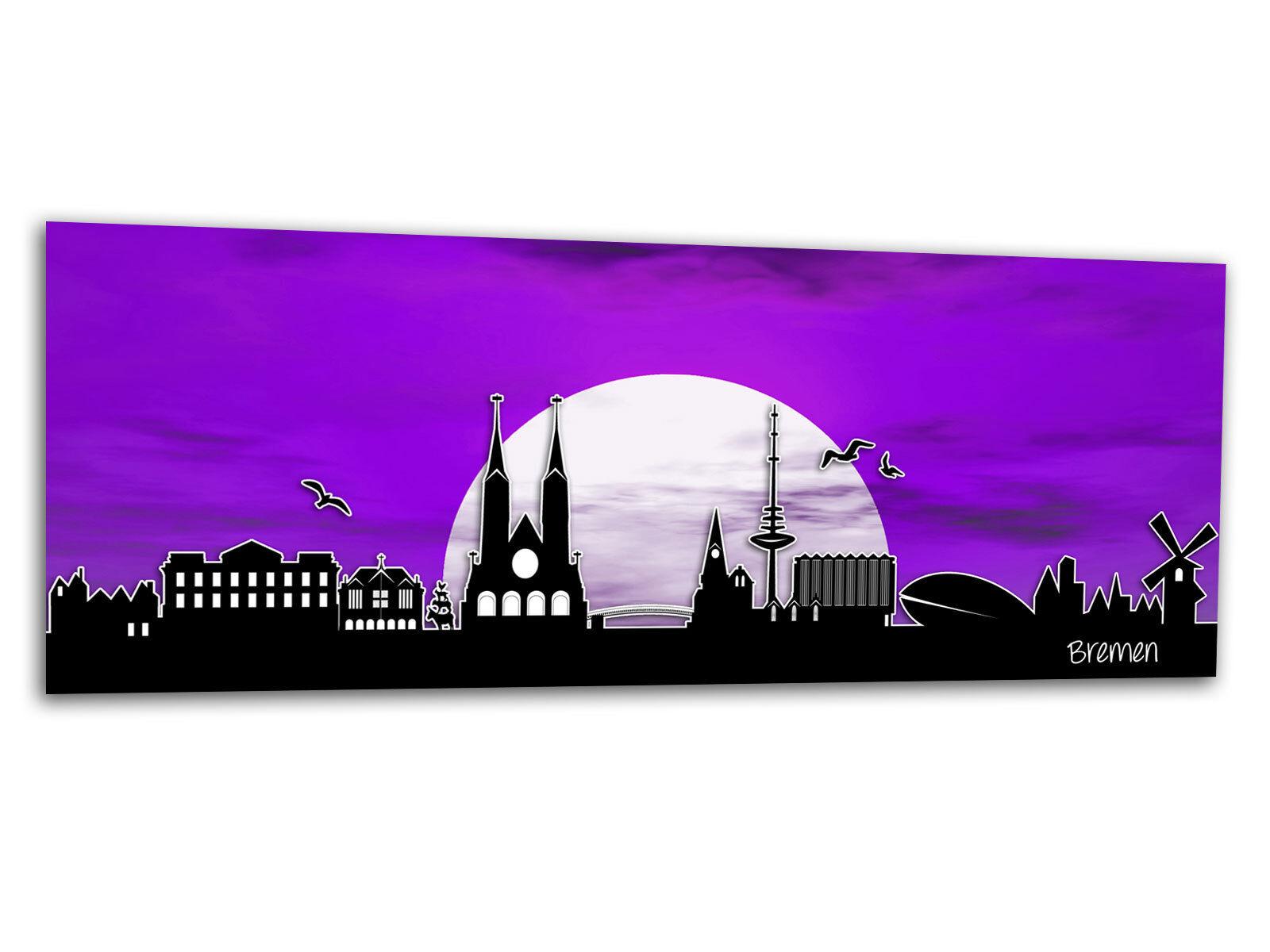 Vetro-Immagine Parete Immagine Brema Luna Viola ag-00747 125 125 125 x 50cm 34f8c4