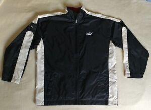 5cdb99a5245 Vintage 90 s PUMA Nylon Jacket Rare Black White Men s Football Coat ...