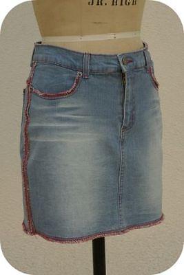 FOREVER 21 Size M Junior Vintage 1990s Red Fringe Boho Hippie USA Denim Skirt