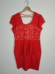 Bluebell USA Designer Red Peplum Broderie Anglise Sheath Dress Women's Size 2XL