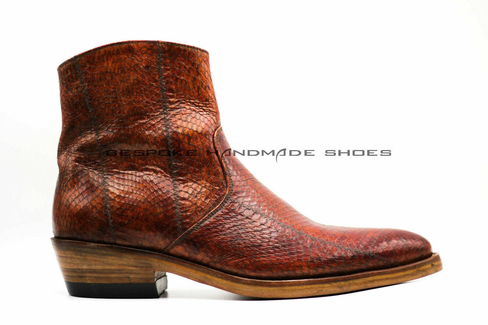 Para Hombre a Medida Hecho a Mano botas Con Cremallera Real De Piel De Cobra Serpiente Genuino Cuero