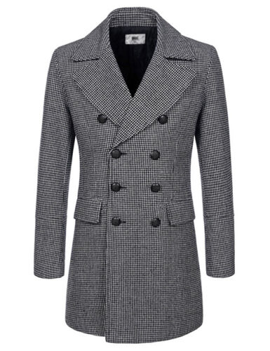 NKDC707 TheLees Mens Double Breasted Notched Lapel Wool Blend Long PEA Coat