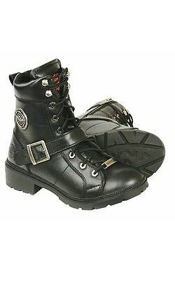 Milwaukee Leather MBL9325W Womens Wide Width Lace-Up Black Leather Boots with Zippers 10W
