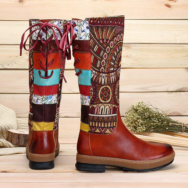 Bohemian Bohemian Bohemian Splicing Pattern Leather Knee High Boots Zipper Lace Up Ladies shoes sz 85e771