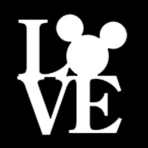 Mickey Mouse Head LOVE Vinyl Decal Graphics Disney Window Sticker - Decal graphics inc