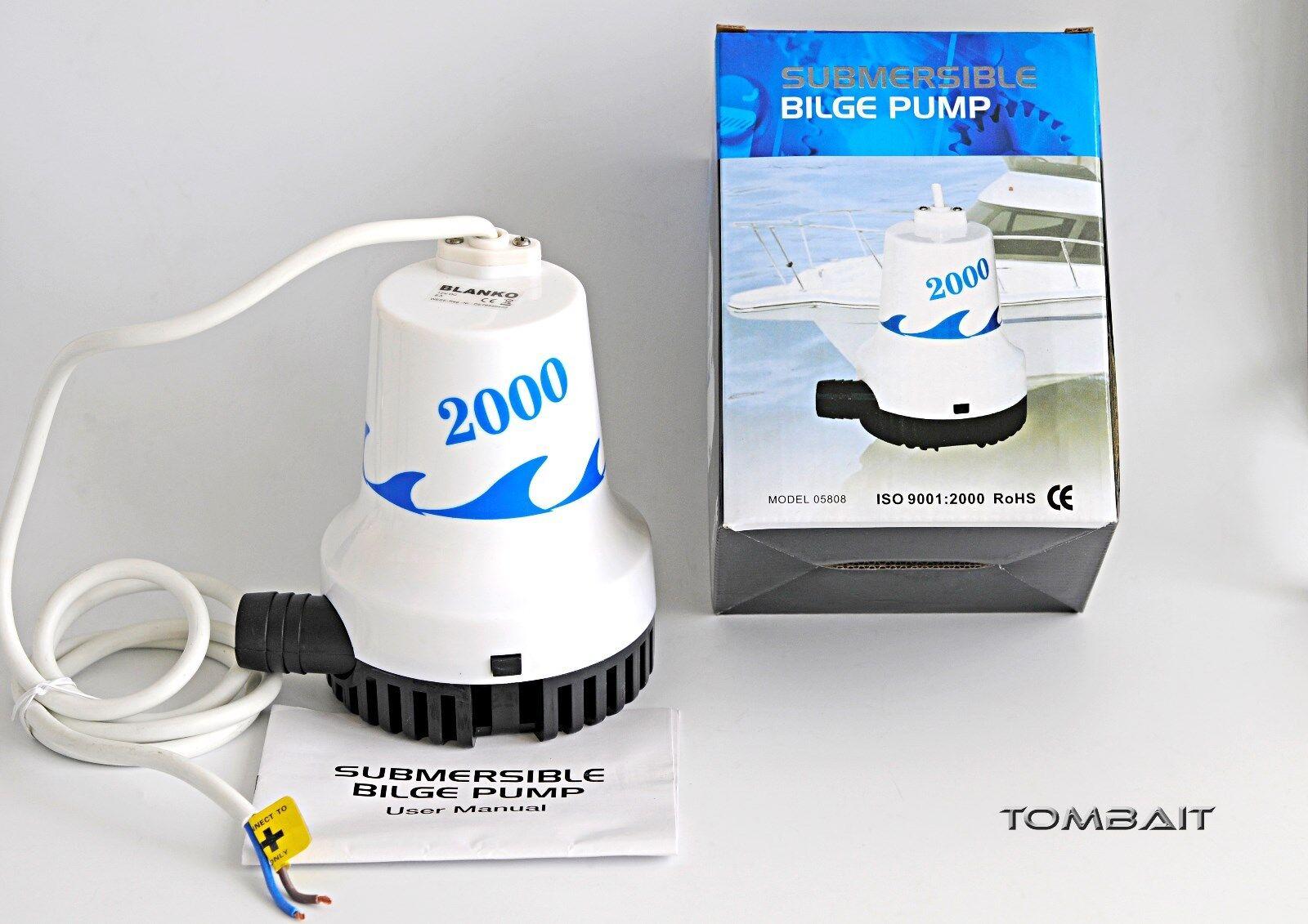 Marine Tauchpumpe 8400 L/h 12V Volt Bilgenpumpe Wasser Stiefel Pumpe Lenzpumpe