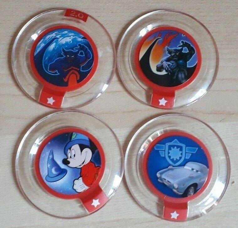 4x Disney Infinity Power Disc Chrome Mickey Hat Chernabog Power & Cyclone