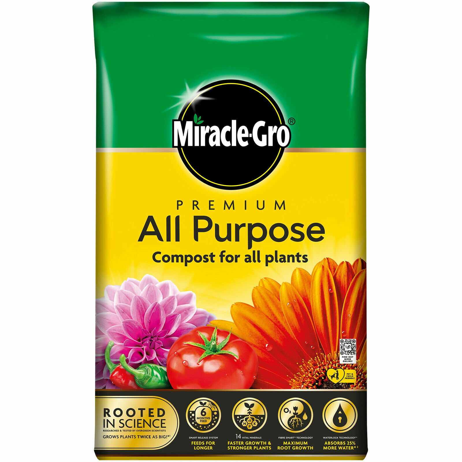 40L Miracle-Gro All Purpose Enriched Compost Soil Potted Plants Flowers Garden