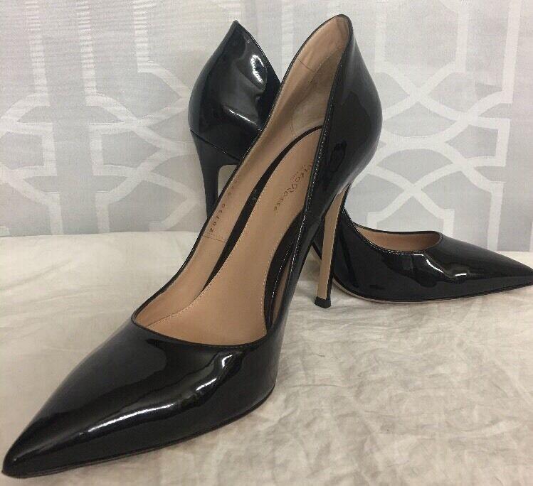 Gianvito Rossi Zapato En Punta De De De Charol Negro Tamaño 40 1 2  barato y de alta calidad