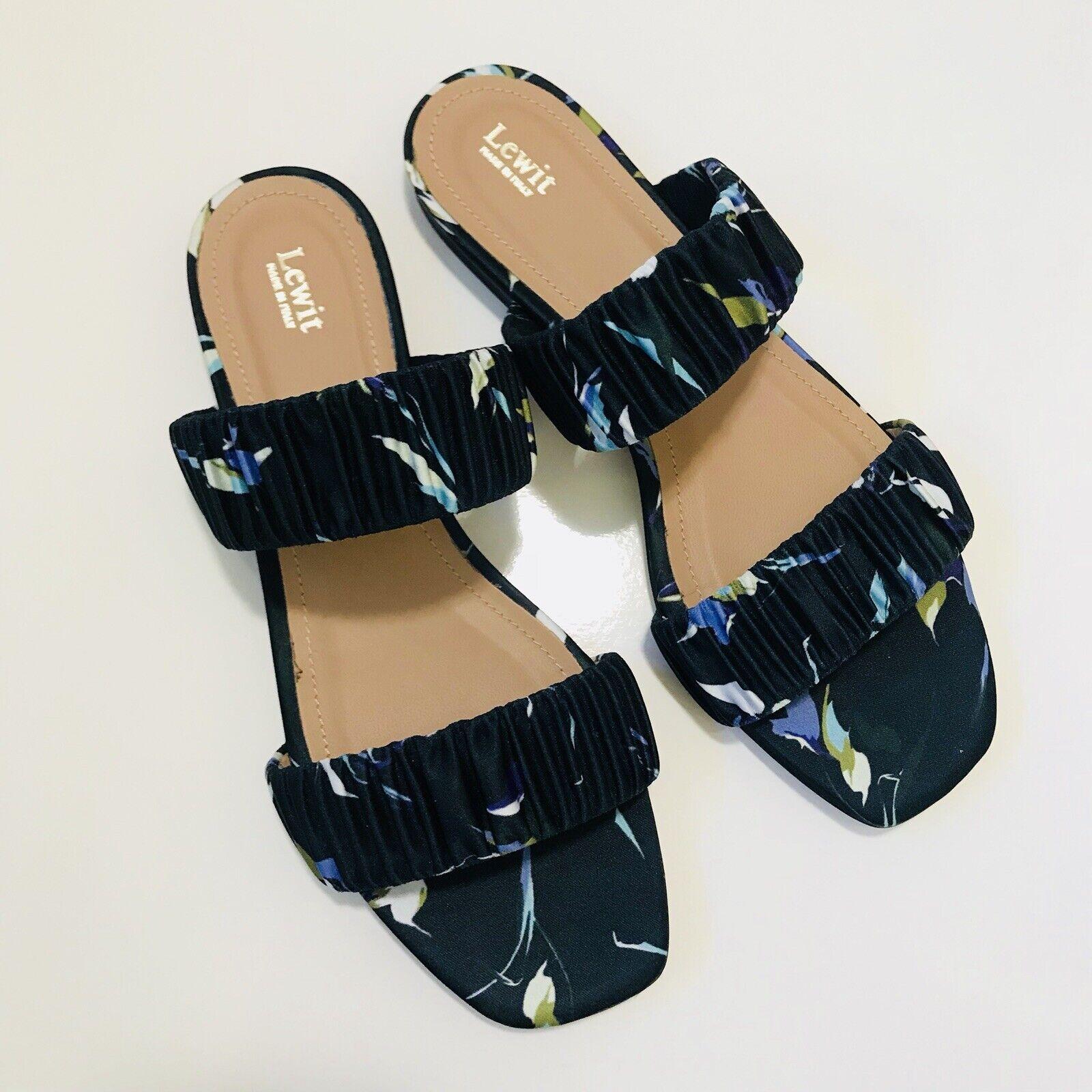 LEWIT Elena Ruched Slide Sandals in blu bianca  Dimensione 36   6 New MSRP  175