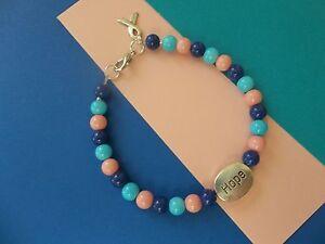 Details About Thyroid Cancer Awareness Beaded Blue Teal Pink Hope Bracelet