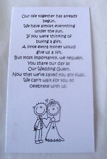 25 Small Wedding Gift Poem Cards asking for Money Bride & Groom 1