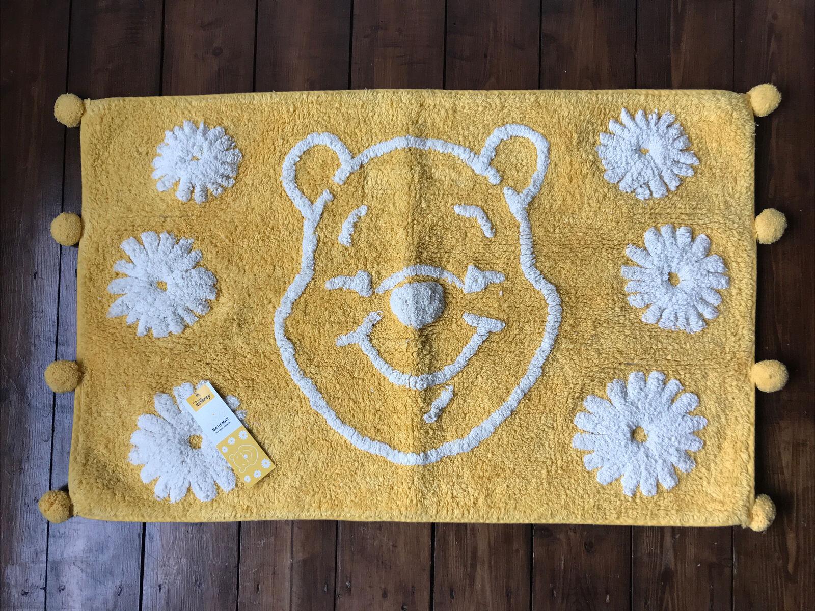 Disney Winnie The Pooh Yellow Super Soft Bath Mat Pom Pom Face Daisy 50x80cm