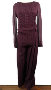 Joseph-Size-UK-8-10-Red-Spotty-Polka-Pure-Silk-Jumpsuit-Pleats-Sheer-Sleeve-Tall