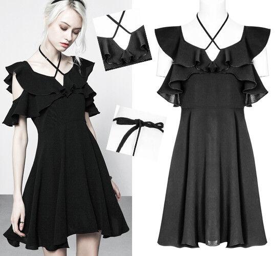 Robe évasée gothique lolita fashion volants liens épaules nues soirée PunkRave