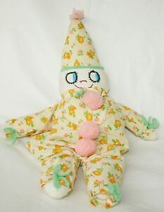 Handmade-VTG-plush-Clown-Pink-stuffed-doll-Creepy-Cute-embroidered