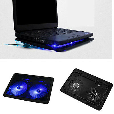 USB 2 Fan Port Cooling Cooler Pad for Laptops Notebook With LED Light Tide