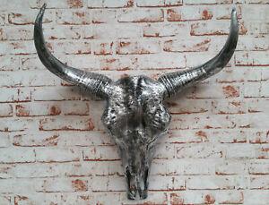 Schaedel-Bulle-Stierkopf-Figur-69-cm-Antik-Bueffel-Skulptur-Deko-Stier-Wanddeko