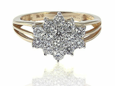 Pave 0.76 Cts Round Brilliant Cut Diamonds Engagement Ring In Solid 14Karat Gold